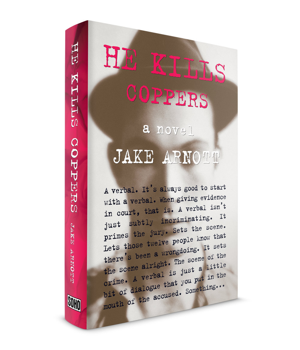 He Kills Coppers, a novel by Jake Arnott. Published by Soho Press. This was the second of three books by Jake that I designed the jacket for. It's a look into the sordid gangland life of London in the 1960s. One character is a tabloid journalist that I pictured behind his old Olivetti typewriter banging out story after story, hence my use of the Trixie typeface. There is another character in the book who carries around an old, small newspaper photograph of someone he's been looking for for years. The photo is faded from being folded. The person he's looking for is described as someone who is easy to describe but difficult to identify. I think this was one of the photos I researched of men at that time period. The image is soft focus and the eyes are covered, making identification difficult. The background of the flaps, spine and back cover was crumpled paper, like the kind you see on TV, that old-time journalists would rip out of the typewriter and throw in a small waste basket. I started the text of the novel on the cover to give the impression that you were watching the journalist as he typed the story.