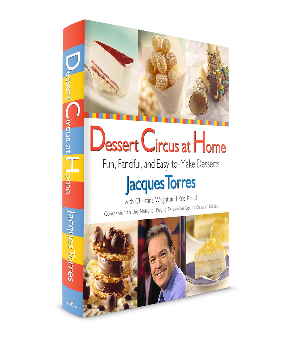 Dessert Circus at Home by Jacques Torres. Published by William Morrow and Company. Jacques, a famous chocolatier, was the Executive Pastry Chef at Le Cirque for 11 years. My simple idea here was to use circus graphic elements (colors, patterns) and make the cover fun. My wife and I were invited to a demonstration that Jacques was giving. We were introduced to him and he was very happy to meet us. He loved the book jacket and made us an amazing Chocolate Moose! I'm talking serious delicious!!