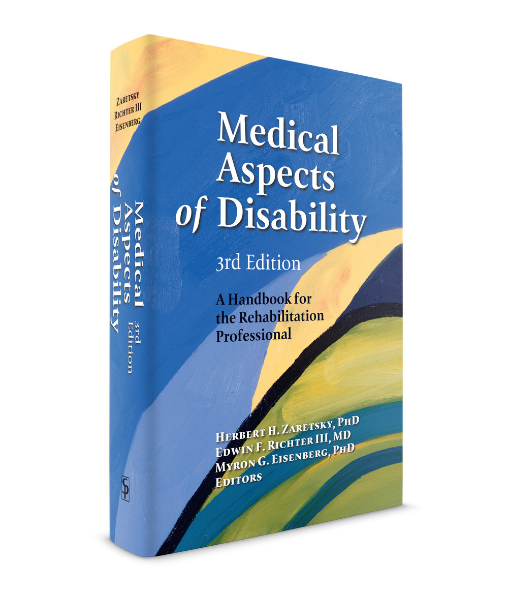 Medical Aspects of Disability. By Doctors, Zaretsky, Richter III, and Eisenberg. Published by Springer Publishers. This is one of the larger medical books I designed. About a thousand pages with over a hundred charts. and tables. There are many typographic details in a book like this so you need a very versatile family of typefaces. The serif family I used here is, Reminga by Xavier Dupré. It's a beautiful contemporary cut of a Garamond-style typeface. The sans-serif is called, Page by Albert Boton. Sans-serif faces were originally created to be the simple typefaces of the people, with no frills like small caps, but the contemporary faces do have those beautiful details. This one has a wonderful small cap face that I included in this book.