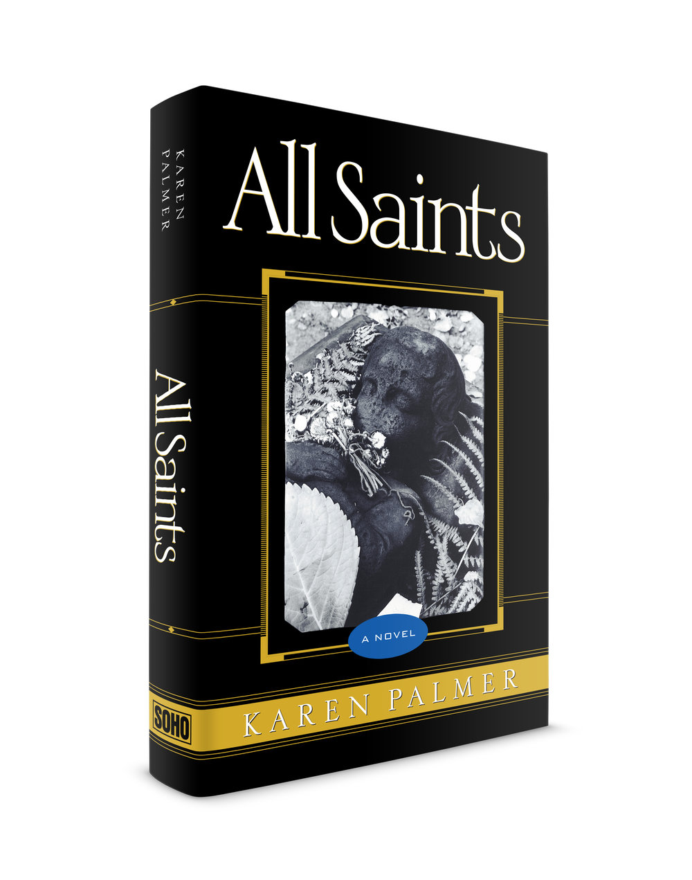 All Saints, a novel by  Karen Palmer . Published by Soho Press. This book was my first design project with Soho Press. I worked with  Juris Jurjevics  and Laura Hruska. Karen is one of my favorite Soho authors. This impressive volume weaves the tales of 3 individuals whose lives diverge in 1950s Louisiana. Harlan Dessonier, Glory Wiltz and Father Frank Doyle are characters that are as unique as their names. I created an intricate digital, gold grillwork that spanned both flaps, back cover, spine and front cover. The individual panels are connected by thin gold rules, the front cover framing a photograph by Josef Sudek of a grave in the Malá Strana Cemetery in Prague. The typeface with those beautiful details is Engravers Classic by Dennis Ortiz-Lopez.