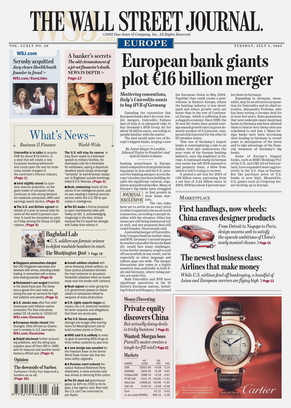 The Wall Street Journal redesign, Europe Edition. Published by Dow Jones.