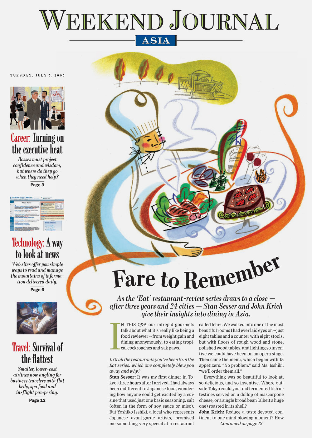 The Wall Street Journal redesign, Asia Edition. Published by Dow Jones. Illustration by Steven Salerno