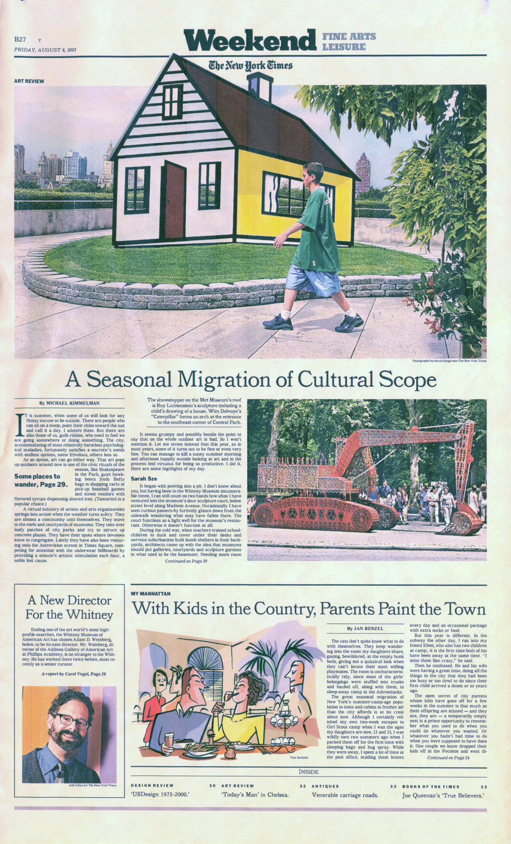 The New York Times weekend section. Illustration by Tom Bachtell