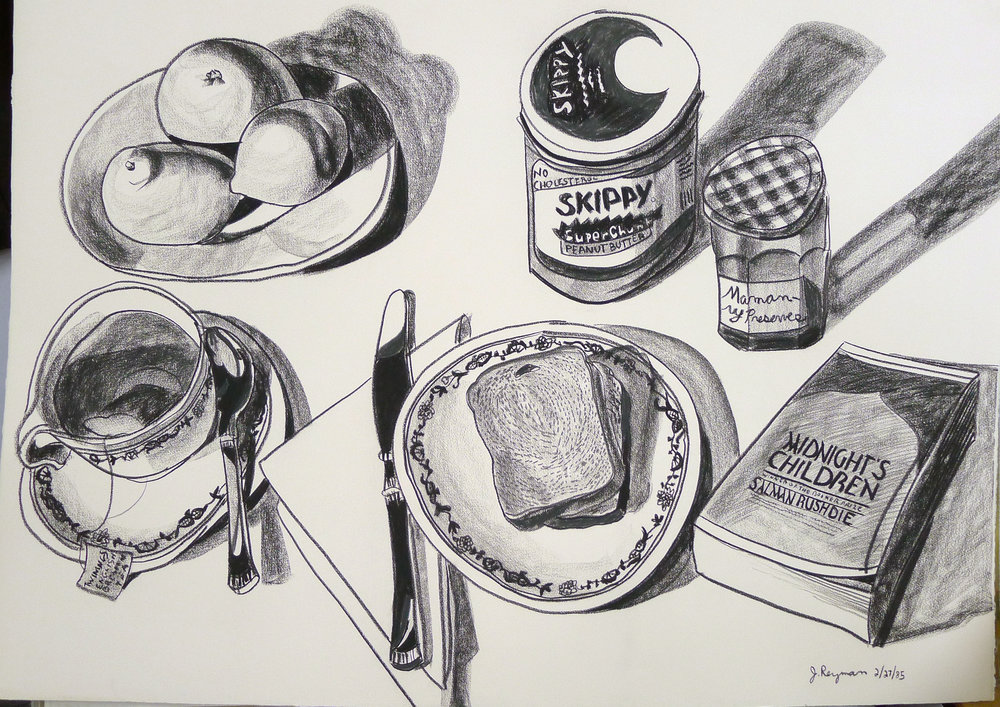 Peanut Butter, Jelly, Independence • 29 x 41 inches • Charcoal on Arches Cover