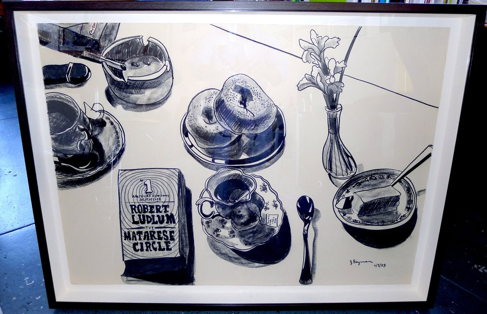 Tea, Lilacs, Suspense • 29 x 41 inches • Charcoal on Arches Cover