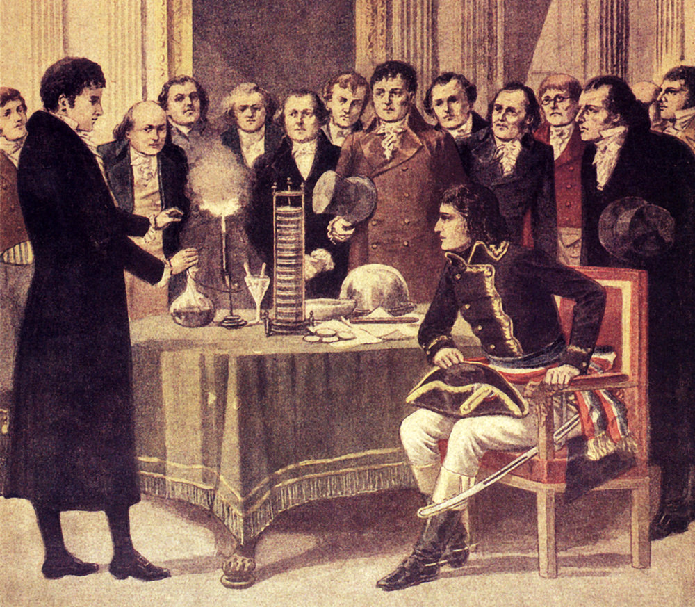 "Volta explains the principle of the  ""electric column""  to NAPOLEON in 1801"