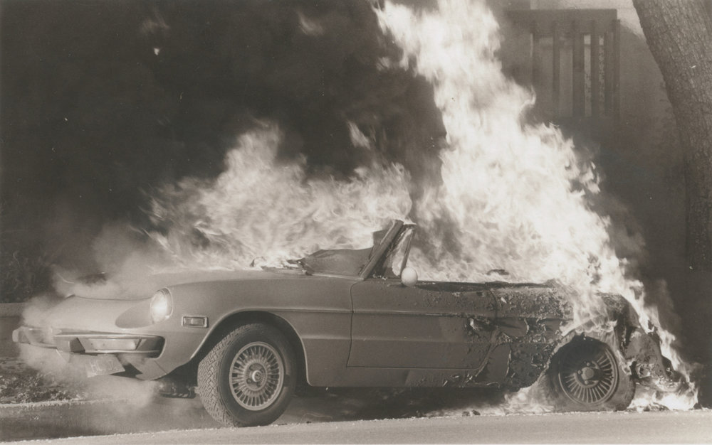 """Burning Car In Sherman Oaks   """"Alfa Romeo looked new... Spontaneous combustion. No one seemed to pay any attention."""" October 1978"""