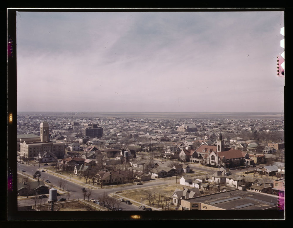 Looking southwest from the Santa Fe Building, 1943.jpg