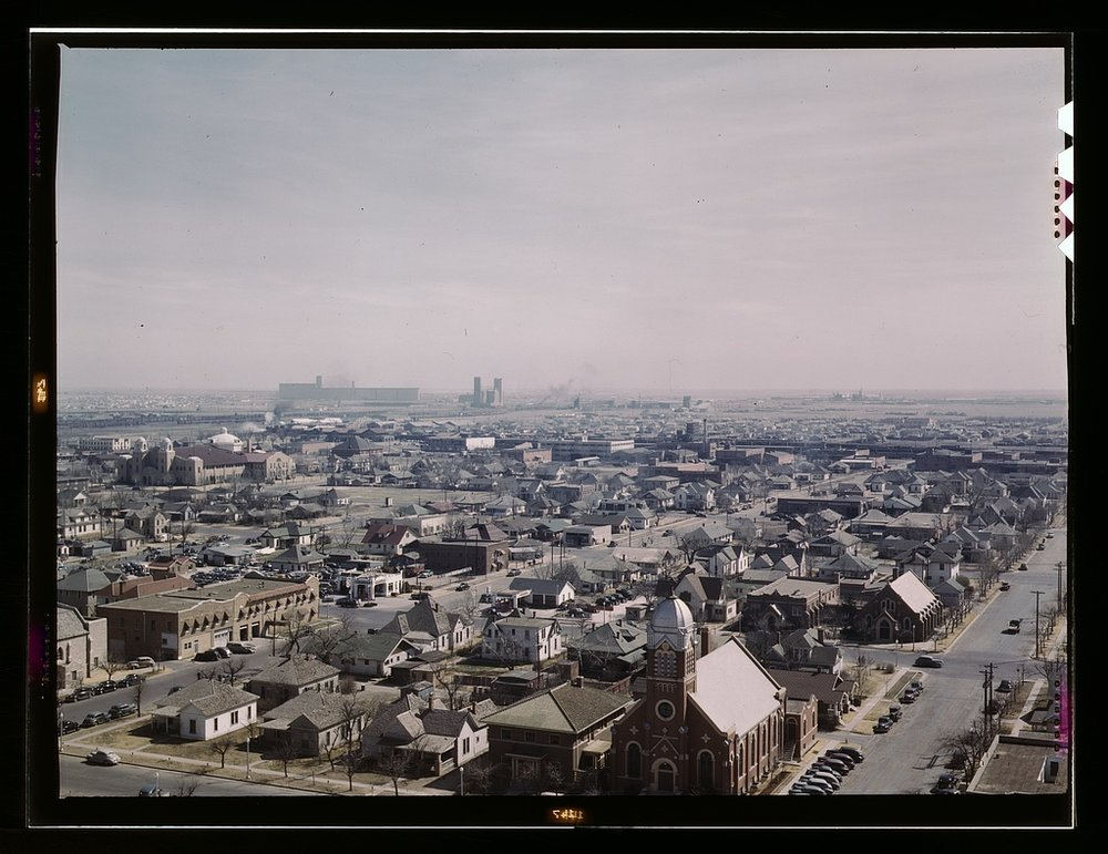 Facing west from the Santa Fe Building, 1943.jpg