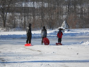 Big boys sledding