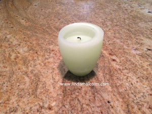 candle on counter
