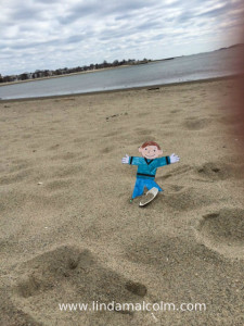 flat stanley at the beach