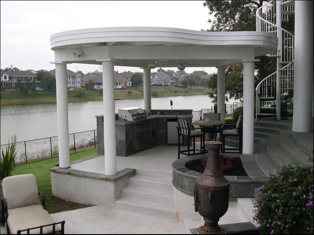 BMR Pool And Patio Covered White Pillars Arbor