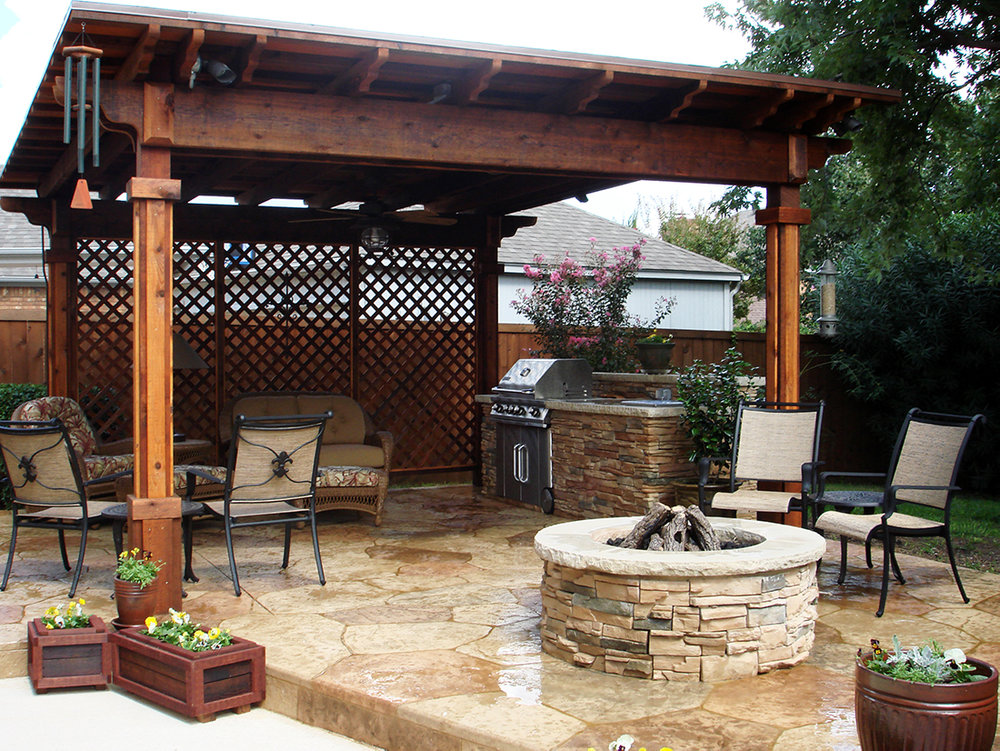 BMR Pool And Patio Outdoor Arbor Cover Firepit