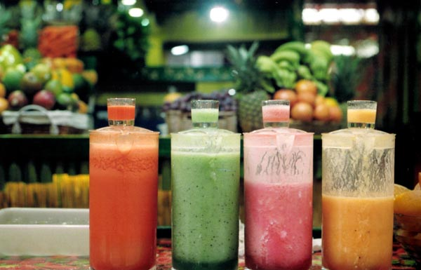 Liquid foods like smoothies are a great way to get some calories into your child while easing the throat.  Image source .