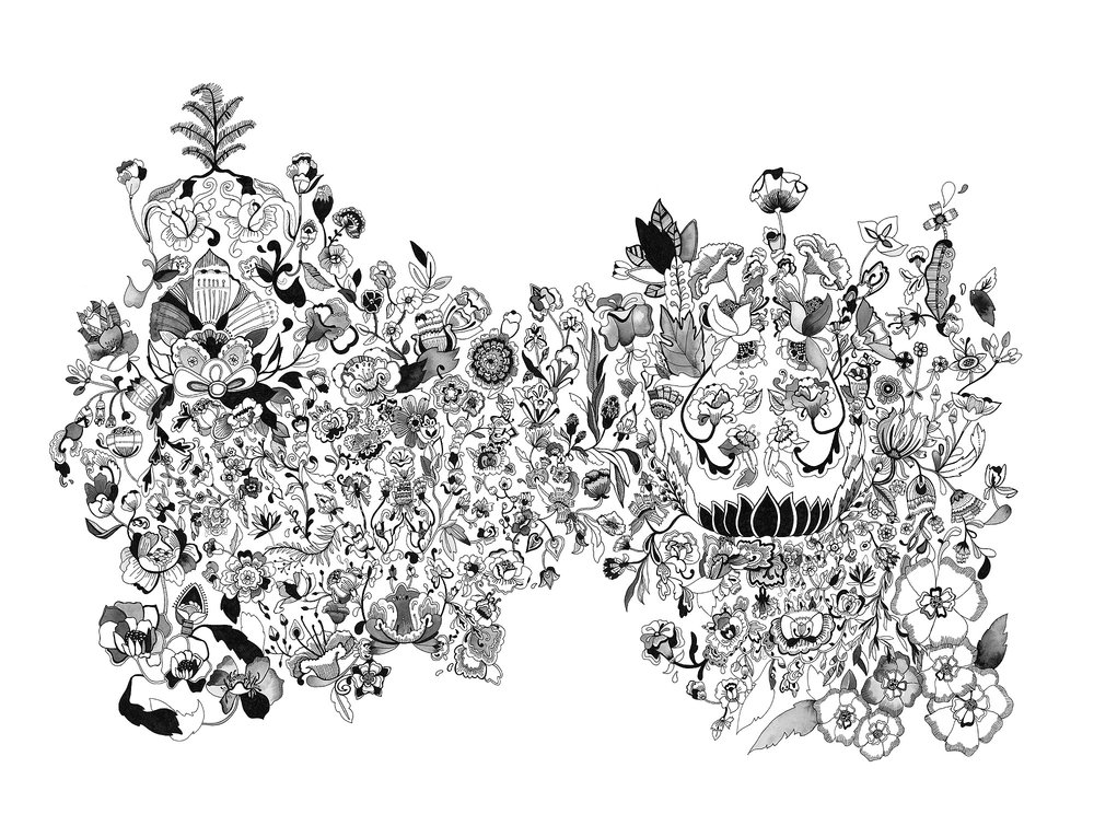 Too Much, No 1  23x30 inches, pen and ink on paper