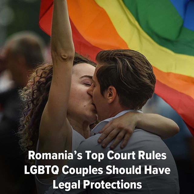 "#Repost @huffpost A step in the right direction. 🌈 Romania's top court has ruled that gay couples should have the same family rights as heterosexuals, a judgment that comes before a national referendum seeking to ban same-sex marriage. The Constitutional Court ruled that same-sex couples had the same rights to a private and family life as heterosexuals and should ""benefit from.... legal and juridical recognition of their rights and obligations."" // 📸: Getty Images . . . . . . . . . . . . #lgbt #loveislove #pride #equality #equalrights #pride🌈 #lgbtq🌈 #romania"