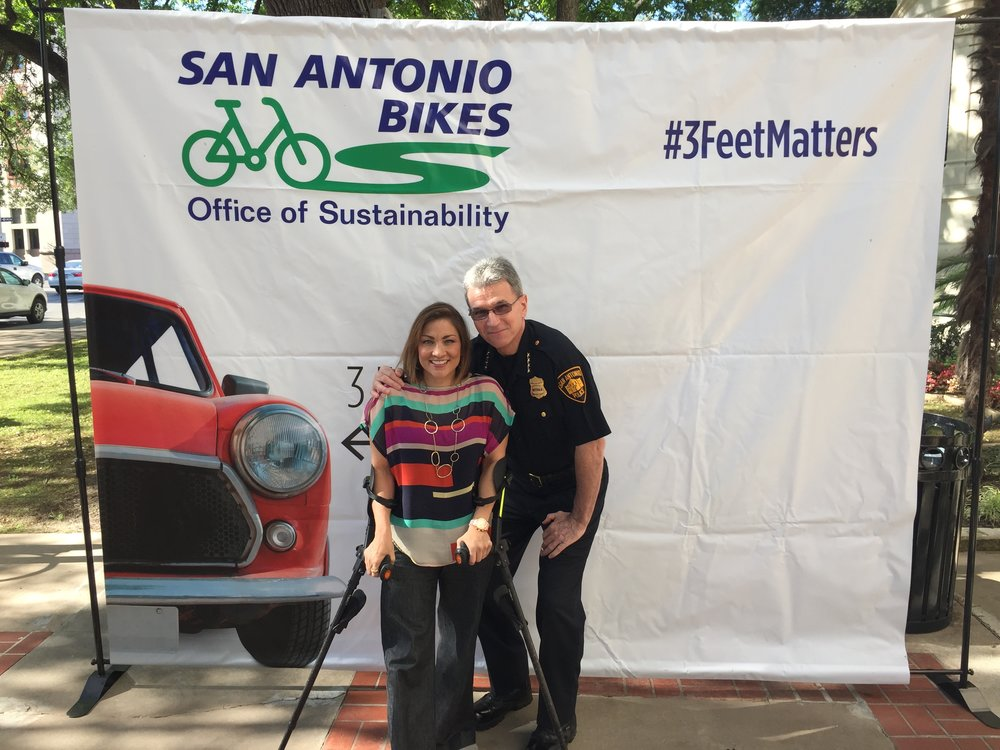 Monica Caban with San Antonio Police Chief William McManus.
