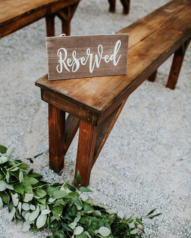Who says benches are just for tables?! Our benches are perfect for that rustic feel during the ceremony too!