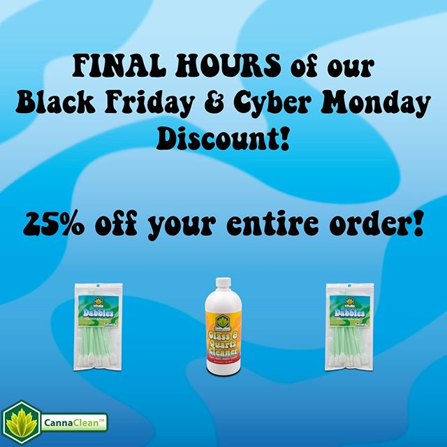 Use code CYBER25 for 25% off your entire order - Ends today at 11:59pm EST! Don't wait! - - - #cybermonday #discount #cannaclean #piececleaner #bongcleaner #cleanbong #howtocleanabong #glassofig #420everyday #quartzbanger #pipecleaner #quartzcleaner #slidecleaner