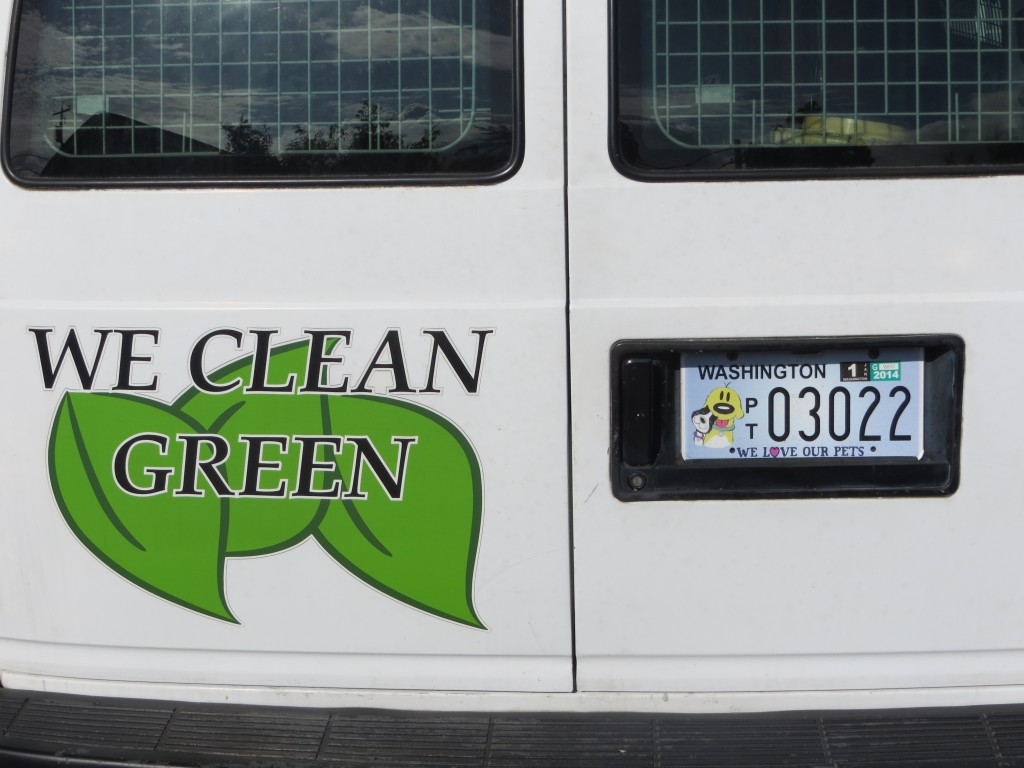 new plates on the carpet cleaning van