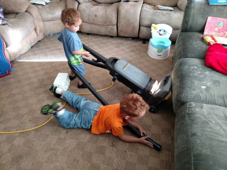 kids vacuuming
