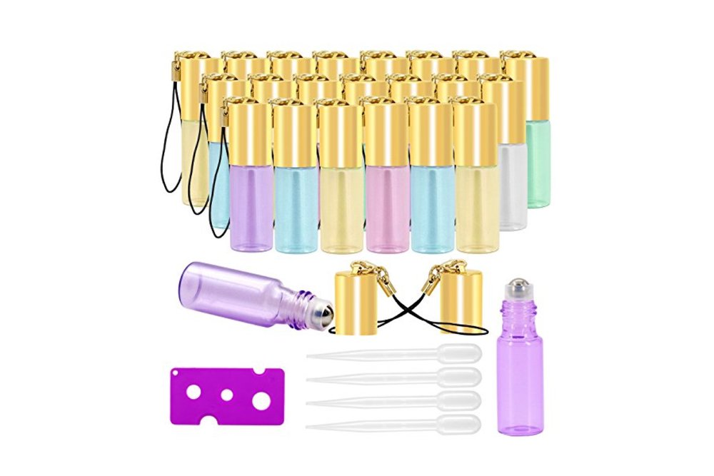 Glass Roller Bottles - 5ml, 24 Pack, Pearl Colored plus more