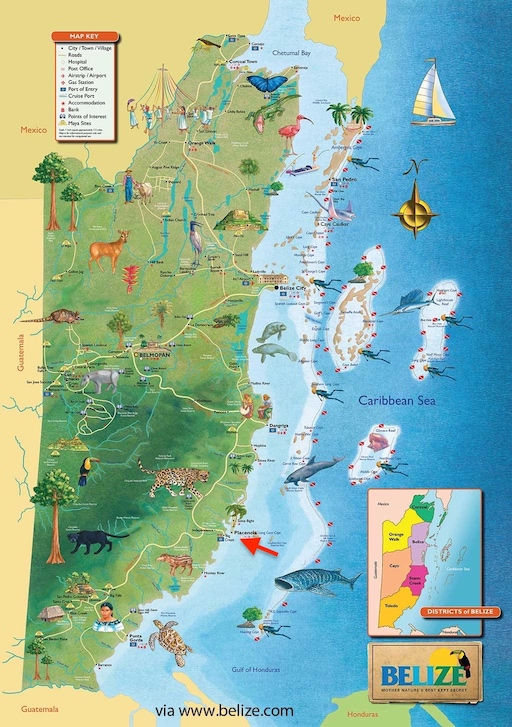 Bordering Mexico To The North & Guatemala To The West & South                                        ( Placencia Peninsula - Red Arrow Above )