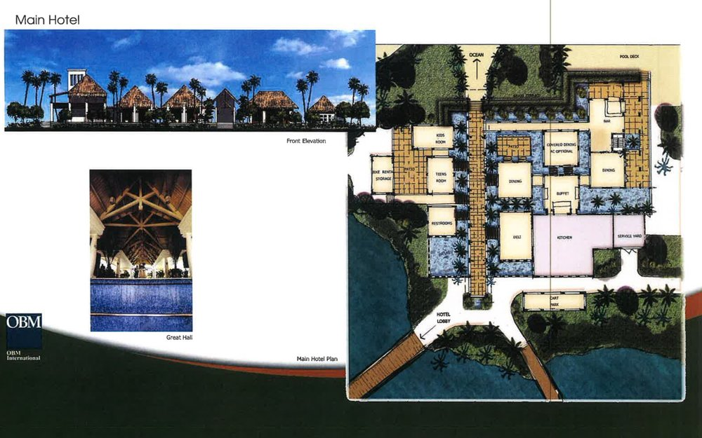 Main Hotel Front Elevation, Great House & Plan