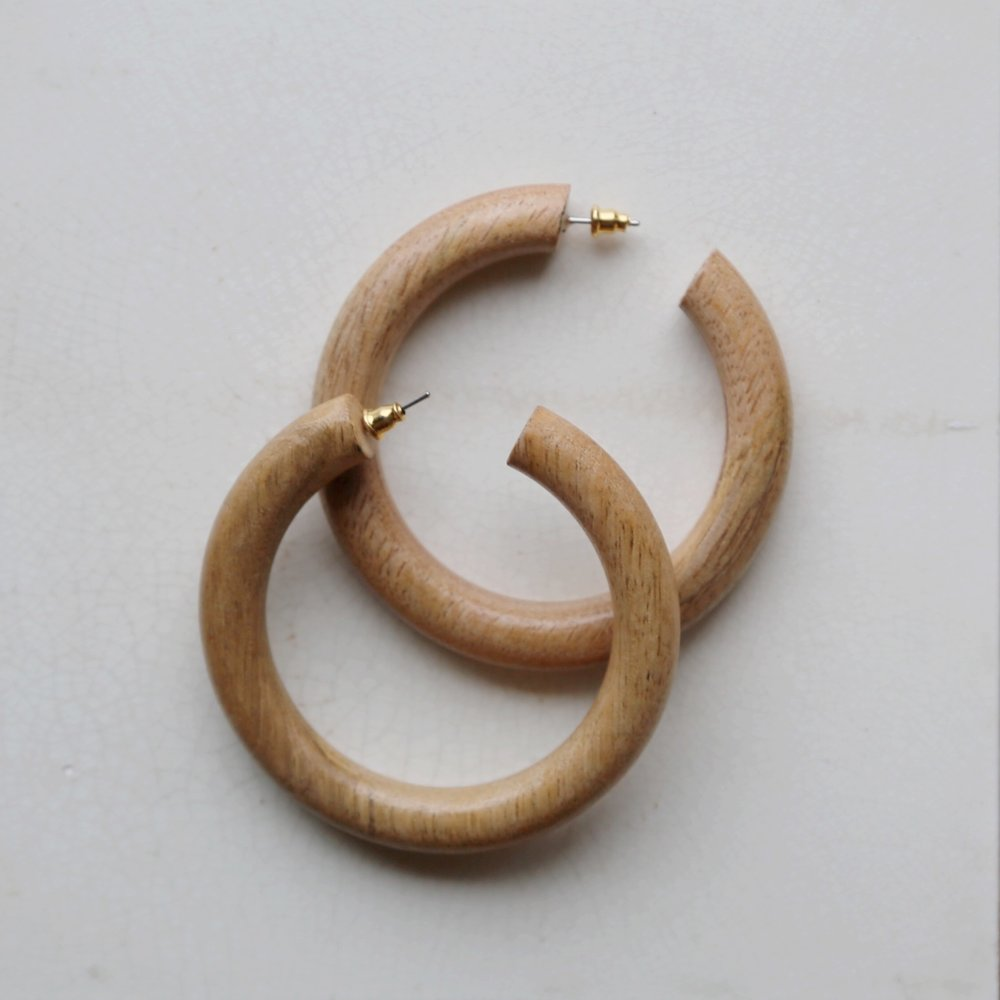 Bembien Margaux Hoop Earrings in Chestnut  $65
