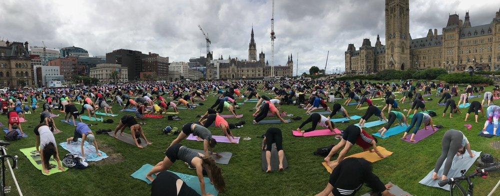 Yoga at Parliament Hill in Ottawa
