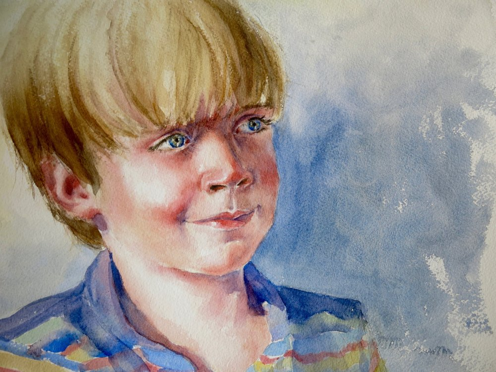 Charlie    Watercolor on paper, 16 x 12""