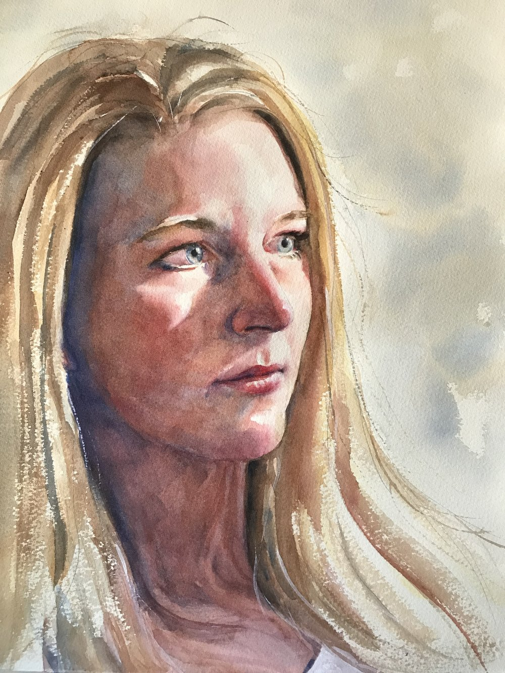 Gretchen   Watercolor on paper, 16 x 12""