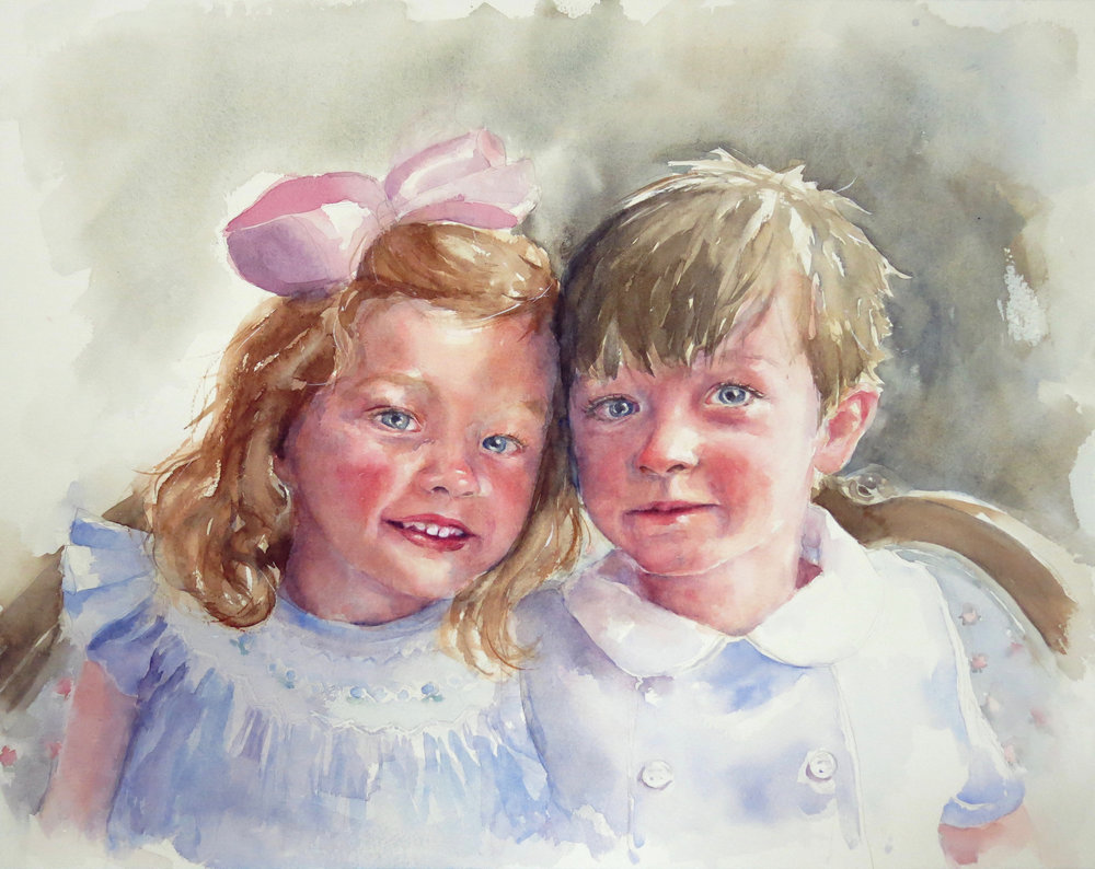 "Maddox and Bates   Watercolor on paper, 19 x 15""  SOLD"