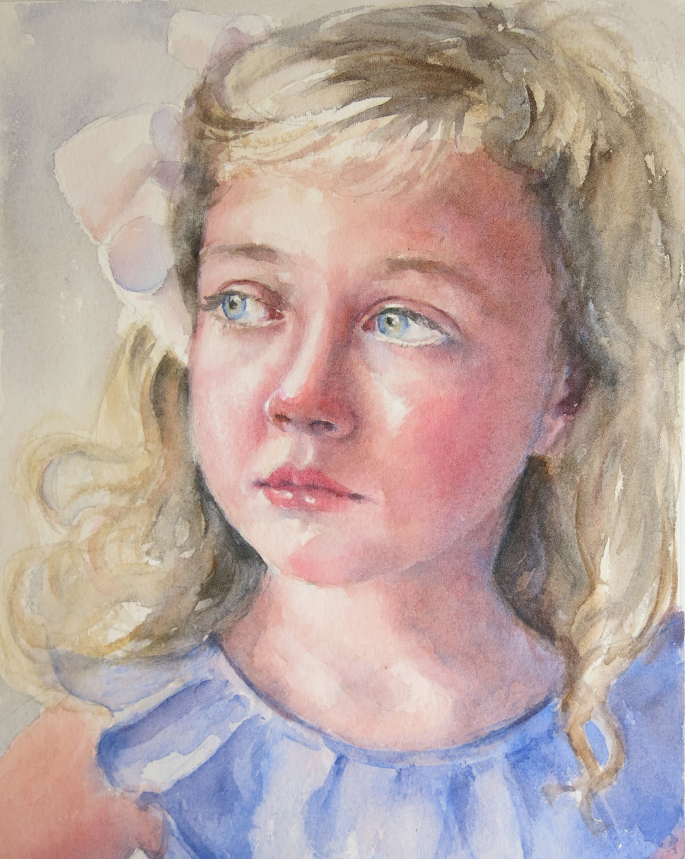 "Libby   Watercolor on paper, 10 x 8""  SOLD"