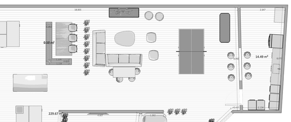 Floor plan alterations (see the addition of six bar stools - boom)