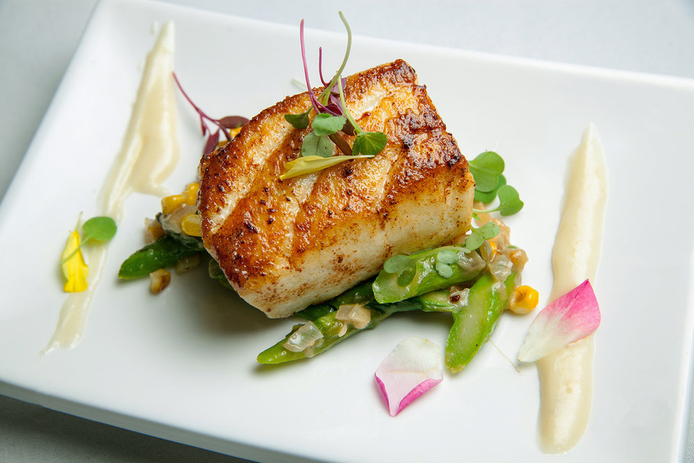 Seared Alaskan Halibut with Green Asparagus Salad and Cauliflower Sauce 2.jpg