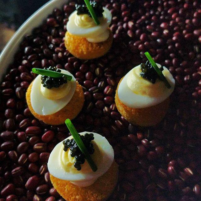 Quail eggs with caviar for @goyastudios Grand Opening! #shotatgoya