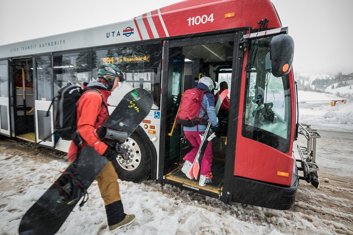 The UTA ski bus runs from downtown SLC to the four resorts of the Cottonwood Canyons. Find the schedule  here  or  here .  Chris Pearson | Courtesy Ski Utah