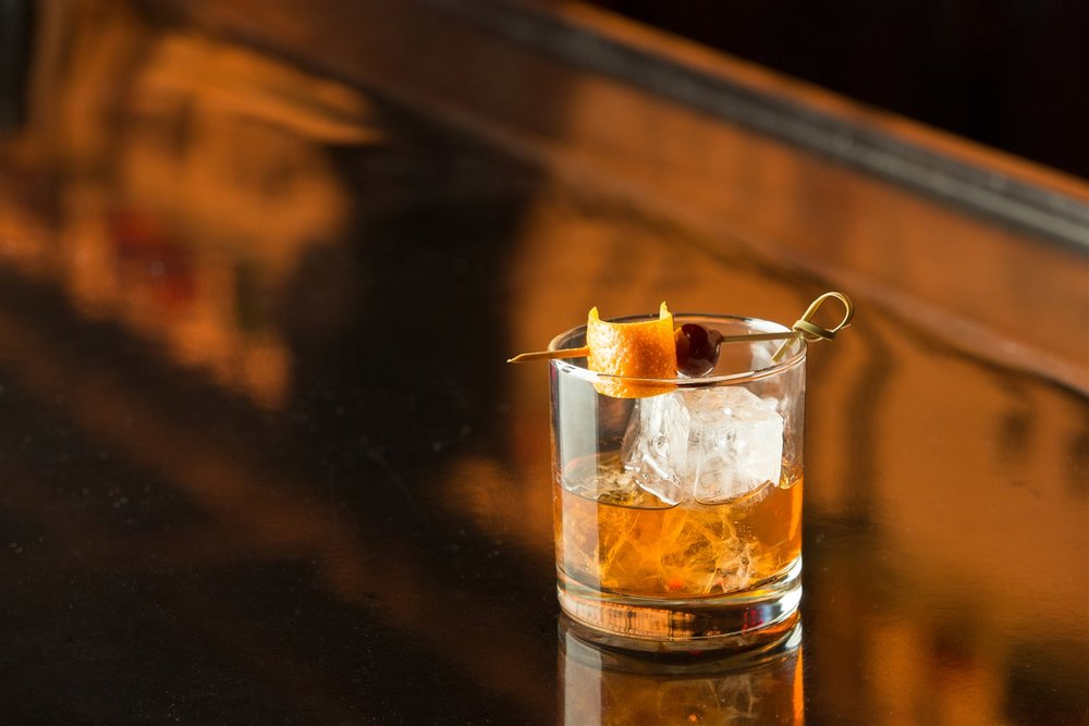 The Utah après-ski buzz (with a Beehive Barrel Reserve Gin Old Fashioned).  Courtesy Beehive Distilling