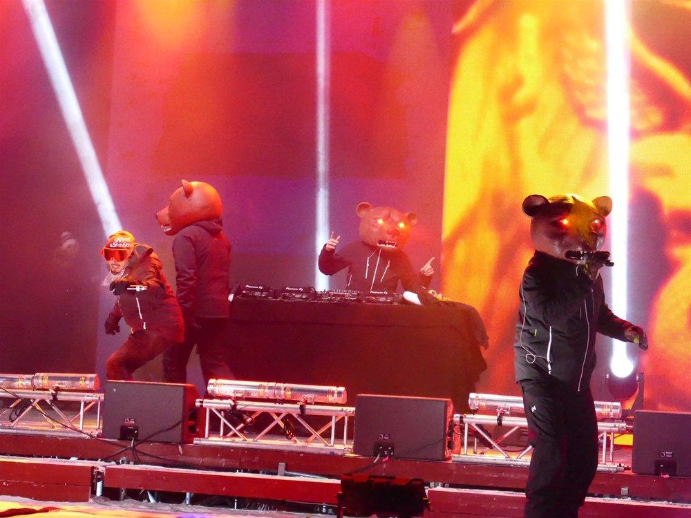 Åre is a fun town that doesn't bat an eye at kooky antics. Here, the Teddybears—a hard-driving Swedish metal/pop/punk/reggae band—stir things up at  Åre 2019 .  Jan M Lundahl |    Åre 2019