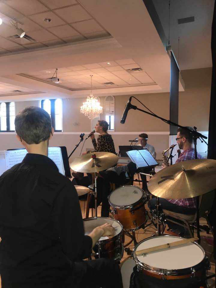 Band and I warming up!