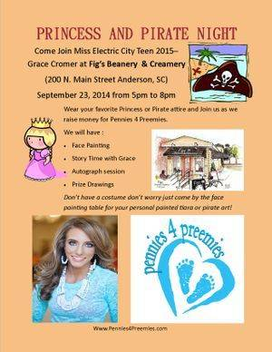 Princess and Pirate Night 2014 - Fun for Everyone!  Come out and enjoy some amazing Ice Cream or Coffee Drink andhelp support Pennies 4 Preemies!  Lots of prizes and fun!