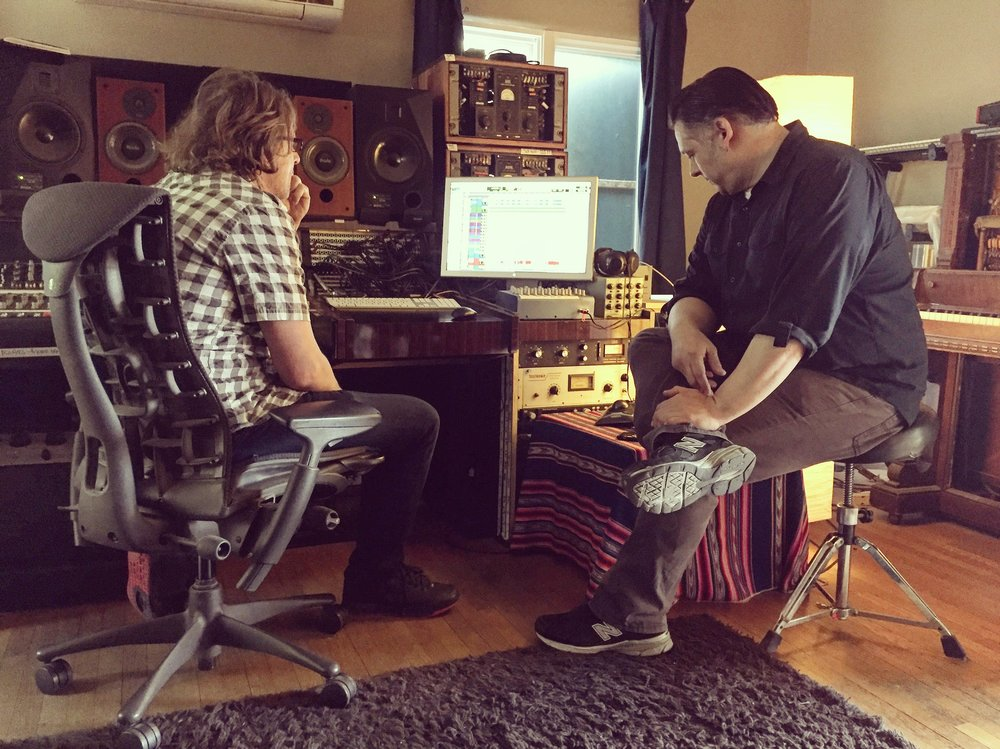 Mathias Schneeberger and Brant J. Cole analyzing drum takes