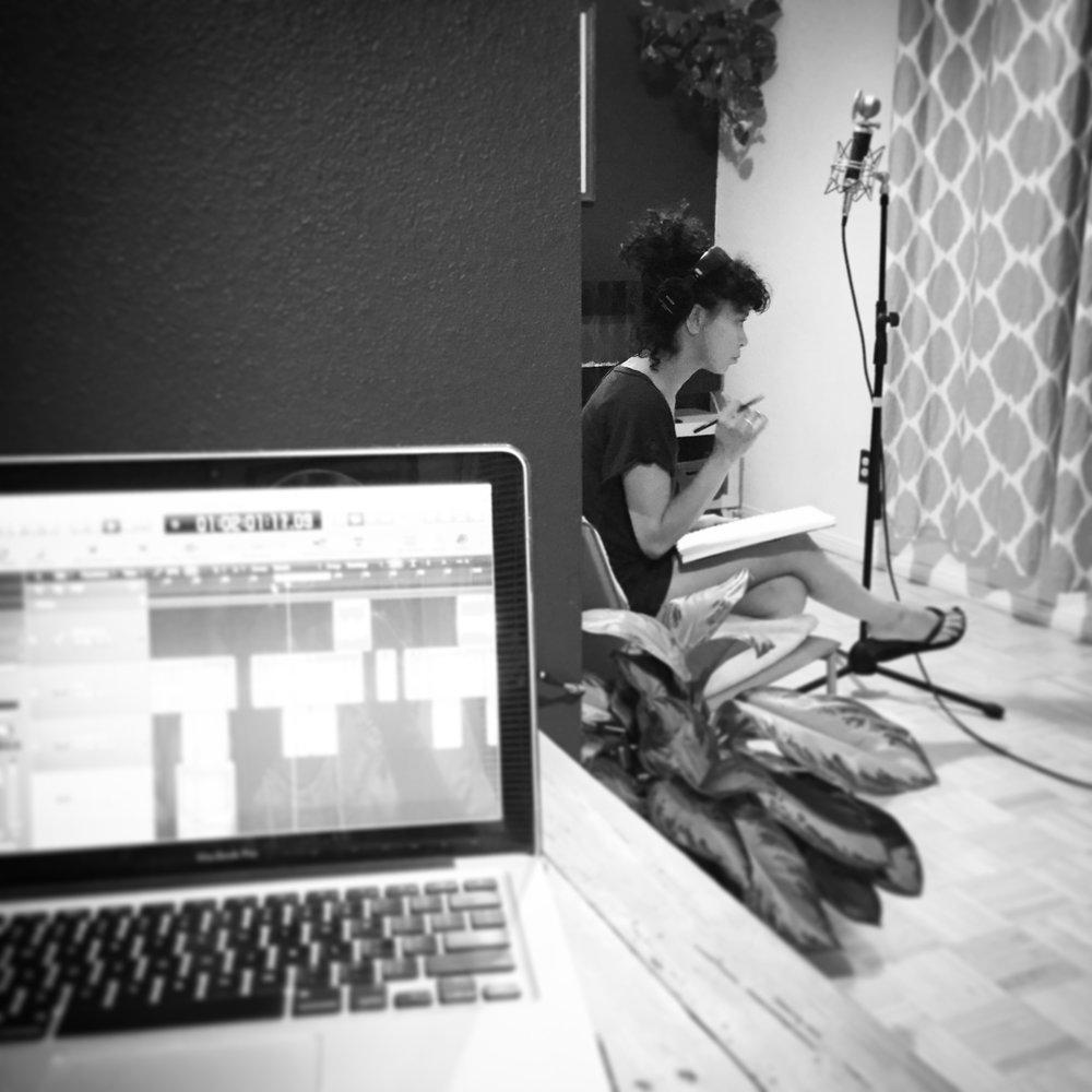 Celia Chavez working out background vocals, Joshua Tree, CA