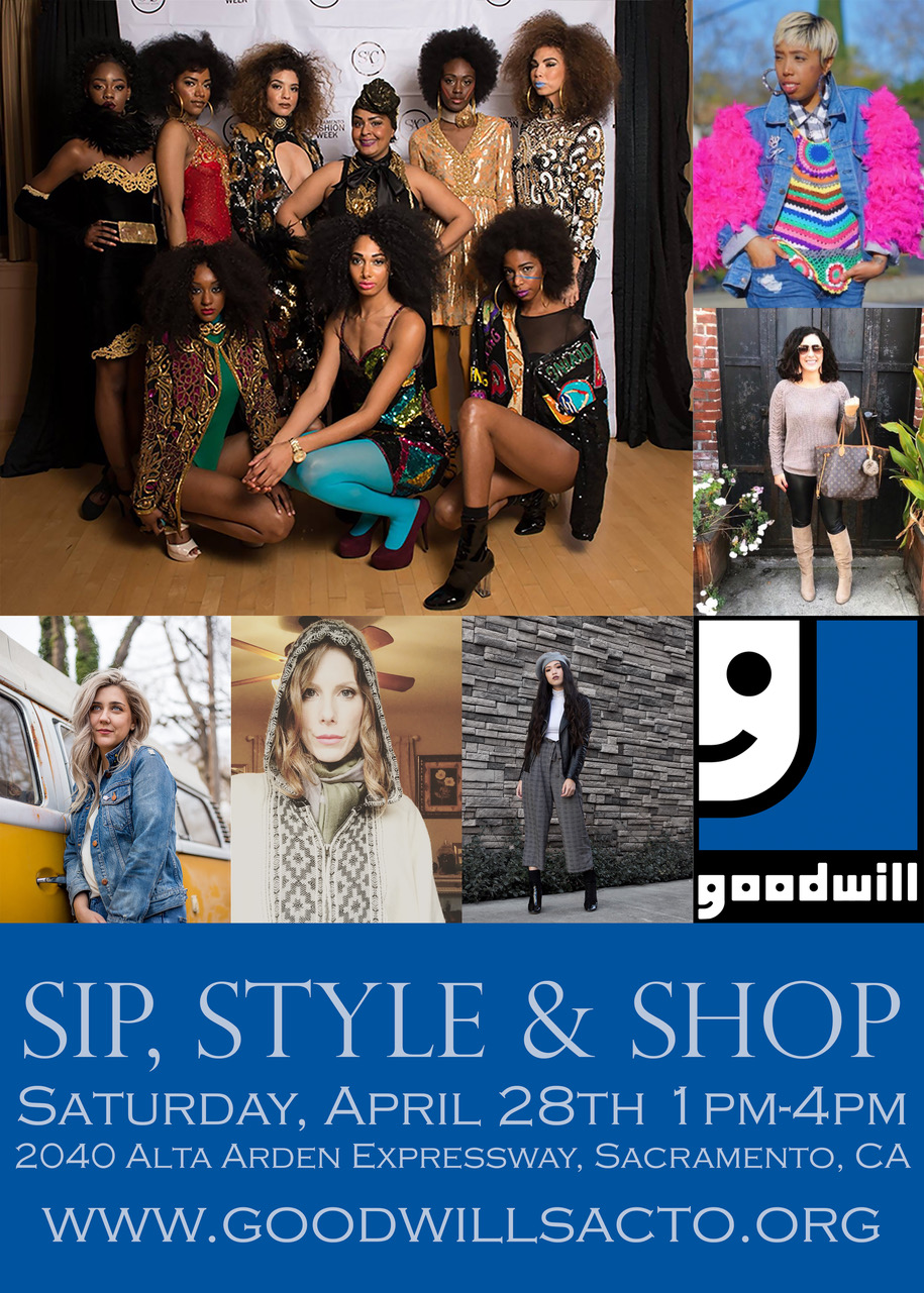 """Goodwill Style Event - Sacramento, California-This spring local Goodwill stores will be hosting Sip, Style & Shop. The event will be held at the Alta Arden Goodwill location 2040 Alta Arden Expressway on April 28thfrom 1pm – 4pm. The goal is to make fashion accessible to everyone, to break down the stigma associated with thrifting, to promote eco-fashion and to have on hand style advice for shoppers free of charge. To accomplish this mission, Goodwill has gathered several Sacramento area stylists, artists and fashionistas to participate in bringing Sip, Style & Shopto life. Stylists will pre-select clothing, accessories and other items. During the event, guests will be able to browse """"style stations"""" where stylists will be available to offer personalized style advice. Similar events have been held in Goodwill stores across the nation, making fashion accessible to everyone. Light bites and beverages will be served."""