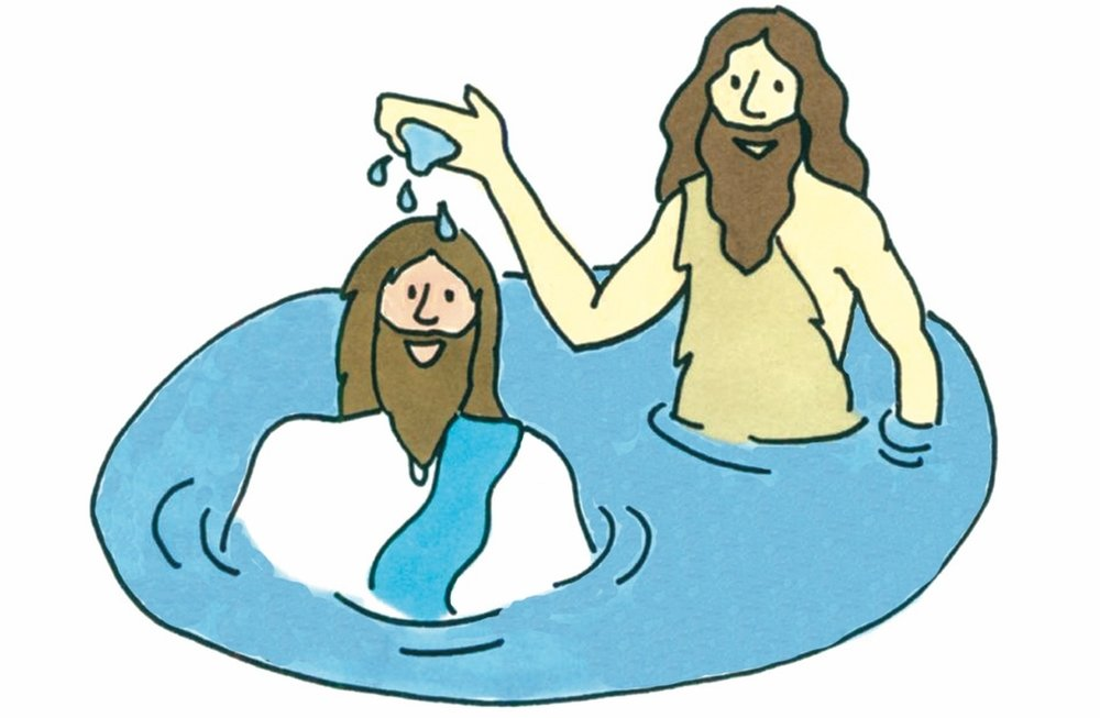 Jesus is baptized by John the Baptist in the River Jordan. Luminous Mysteries in the Catholic Children's Rosary.