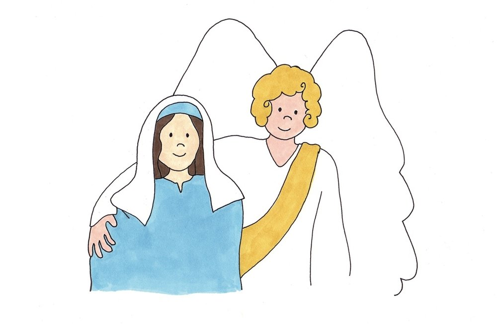 The Blessed Virgin Mary with Angel Gabriel at the Annunciation. Bead by Bead Catholic Children's Rosary book and app.