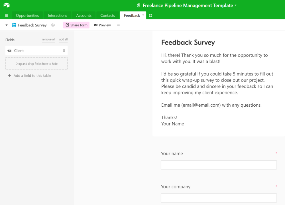 airtable template freelance pipeline sales crm management