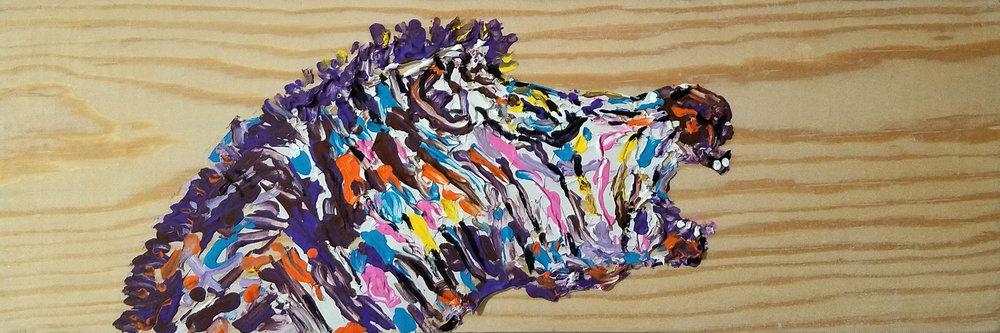 "LOL   Oil Acrylic on wood 5 1/2 x 16 1/2"""